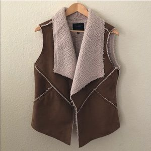 Sanctuary faux suede and shearling vest pockets
